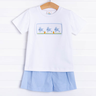 Don't Worry Be Hoppy Smocked Short Set, Blue Gingham