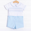 Geo Smocked Button On Short Set