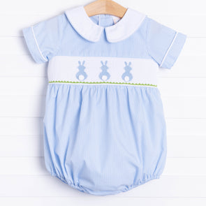 Little Bunny Blue Smocked Bubble, Blue Seersucker