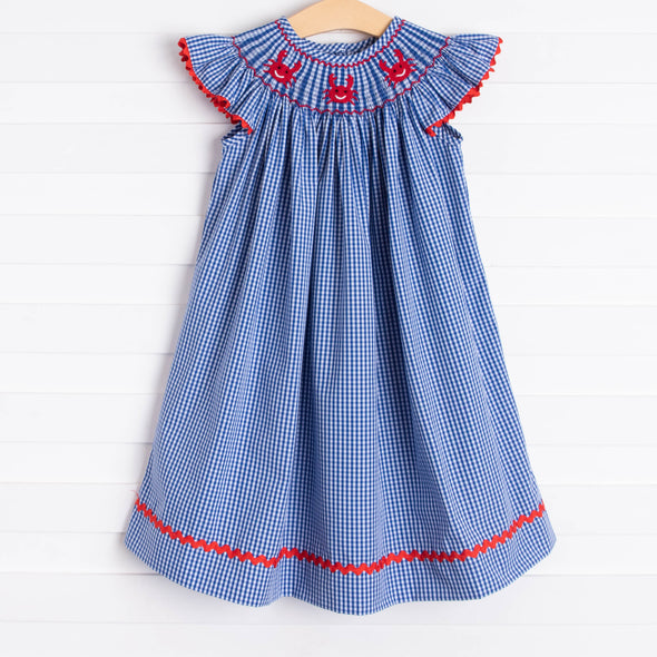 Cute and Crabby Smocked Dress, Blue