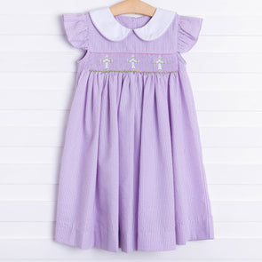 Lavender Crosses Smocked Dress