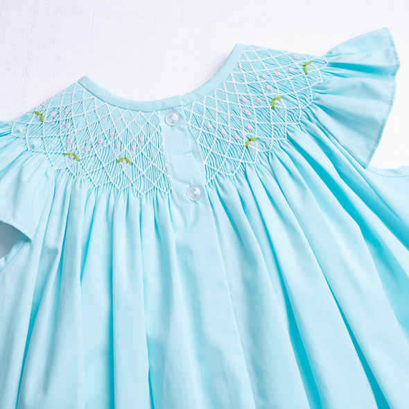 Tulip Geometric Smocked Dress, Turquoise
