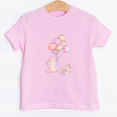 Balloons and Bunnies Graphic Tee, Pink