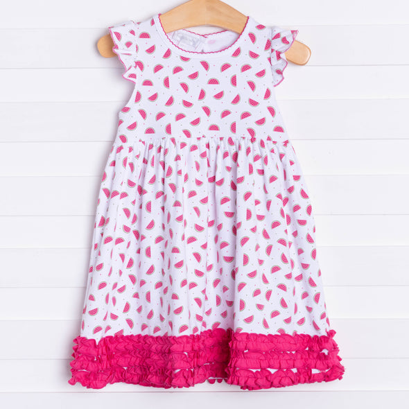 Magnolia Baby One in a Melon Printed Ruffle Toddler Dress