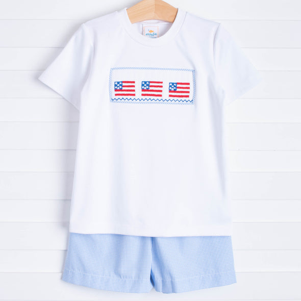 Salute The Flag Smocked Short Set, Blue