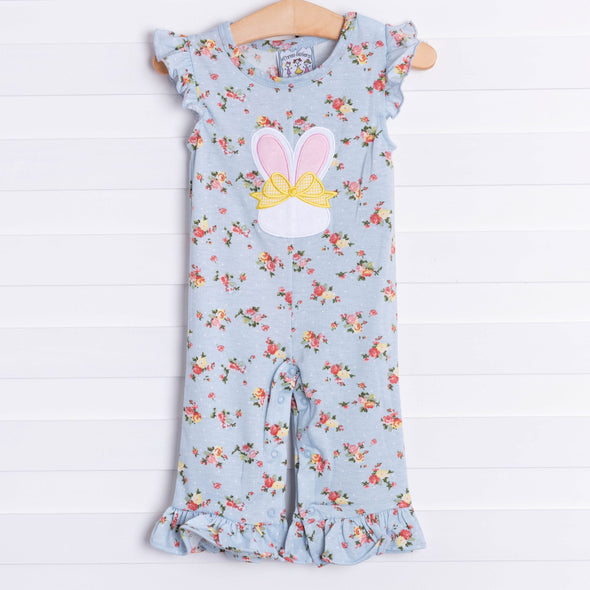 Three Sisters Bunny Ears Girls Applique Romper