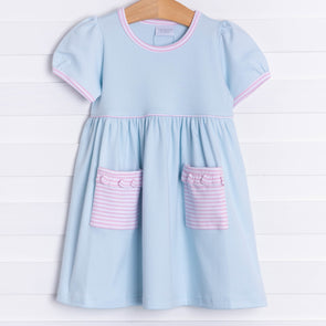 Squiggles Ivy Dress, Light Blue and Pink
