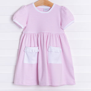 Squiggles Ivy Dress, Pink Stripe
