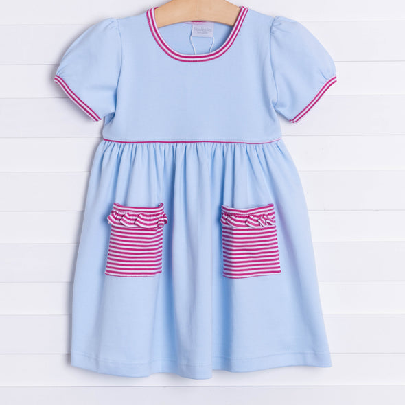 Squiggles Ivy Dress, Blue and Raspberry