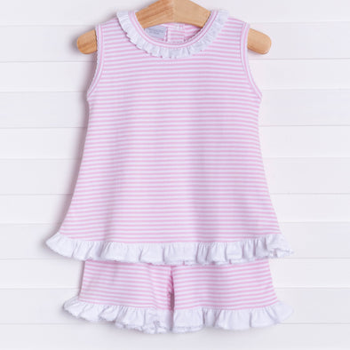 Squiggles Ava Shorts Set, Pink Stripe