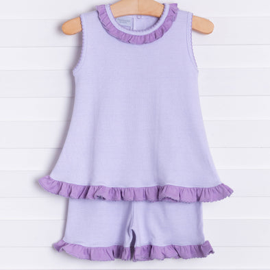 Squiggles Ava Shorts Set, Lilac Stripe
