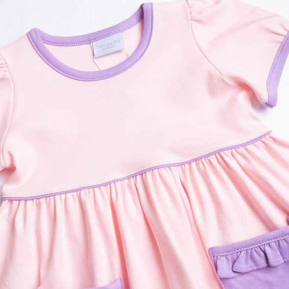 Squiggles Ivy Dress, Light Pink and Lilac