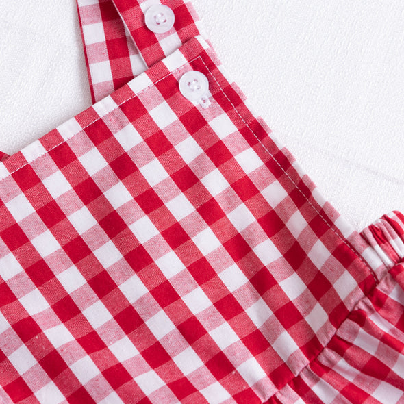 Walter Gingham Sunsuit, Red