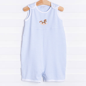 Squiggles Pony Sleeveless Romper, Blue Stripe