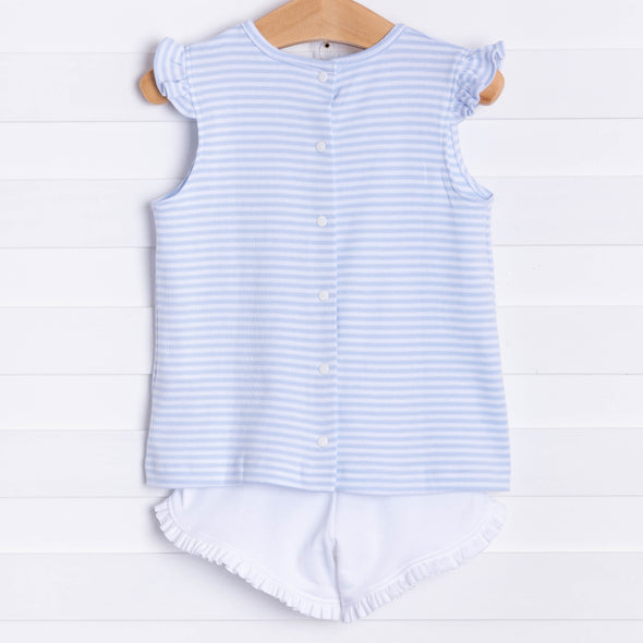 Squiggles Audrey Shorts Set, Blue Stripe