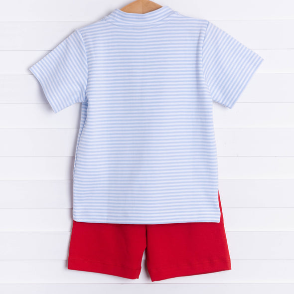 Squiggles Five Alarm Short Set, Blue Stripe