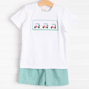 Gone Golfin' Smocked Short Set, Green Gingham