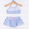 Ruffle Butts Periwinkle Blue Seersucker Bow Skirted Bikini, Blue