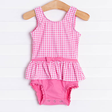 Ruffle Butts Rose Gingham Skirted One Piece, Pink