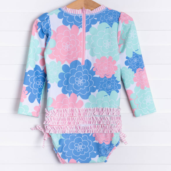 Ruffle Butts Pastel Petals Long Sleeve Rash Guard One Piece, Pink