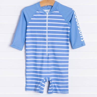 Rugged Butts Cornflower Blue Stripe Rash Guard Bodysuit, Blue