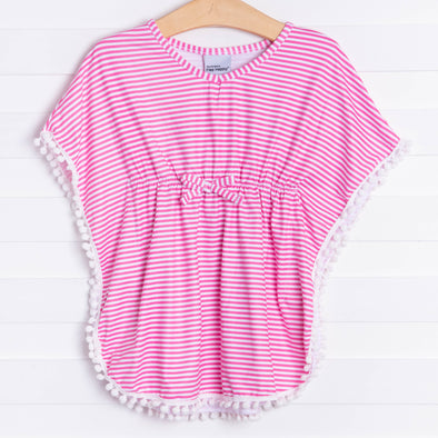 Flap Happy Preppy Stripe Pink Coverup