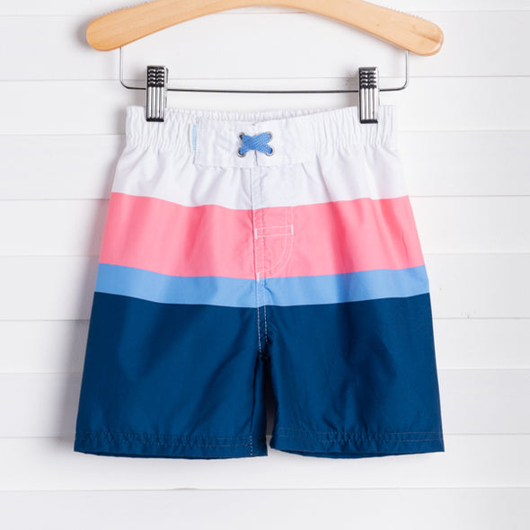 Coral Colorblock Swim Trunks