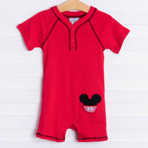 Three Sisters Boys Mouse Applique Romper