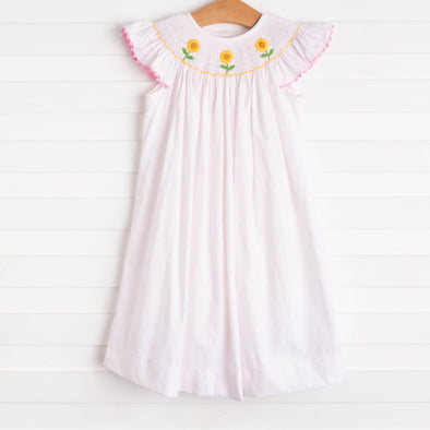 Here Comes the Sunflower Smocked Dress, Pink