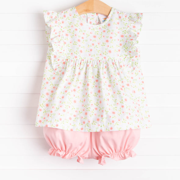 Little Pink Flowers Bloomer Set, Pink