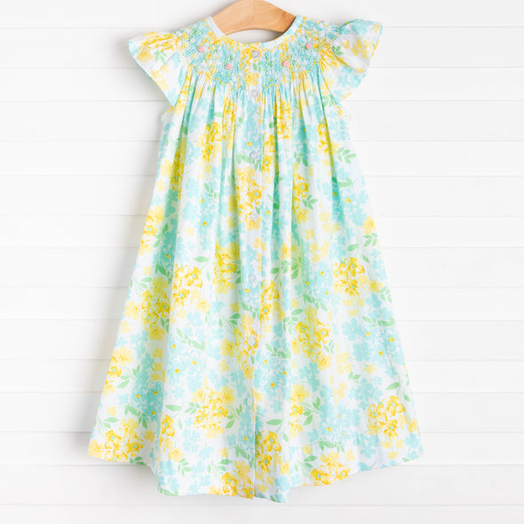 Blossom Buddies Smocked Dress, Aqua