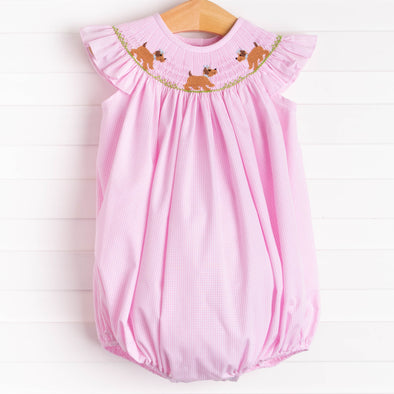 Playdate Puppies Girl Smocked Bubble, Pink
