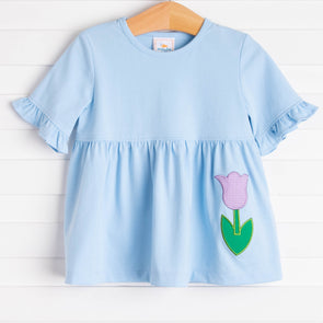 Tulip Blooms Applique Shirt, Blue