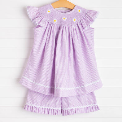 Daisies Go By Smocked Ruffle Short Set, Lavender