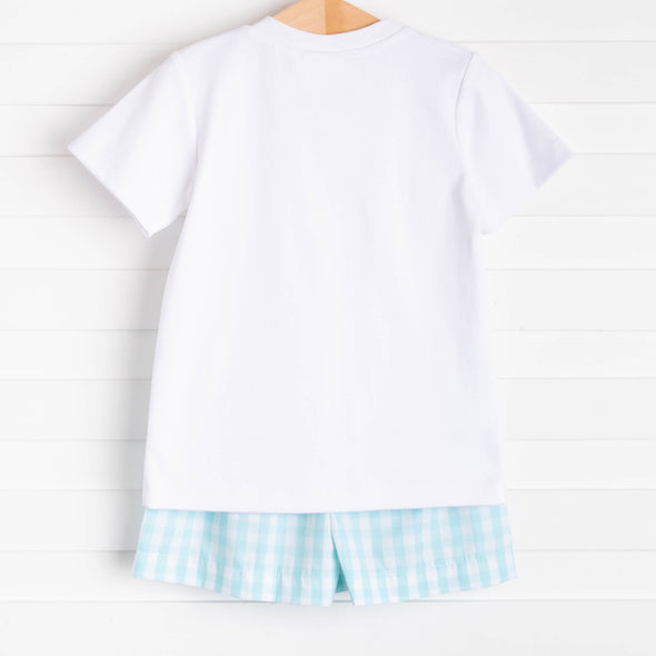 Pedal Pusher Smocked Short Set, Aqua