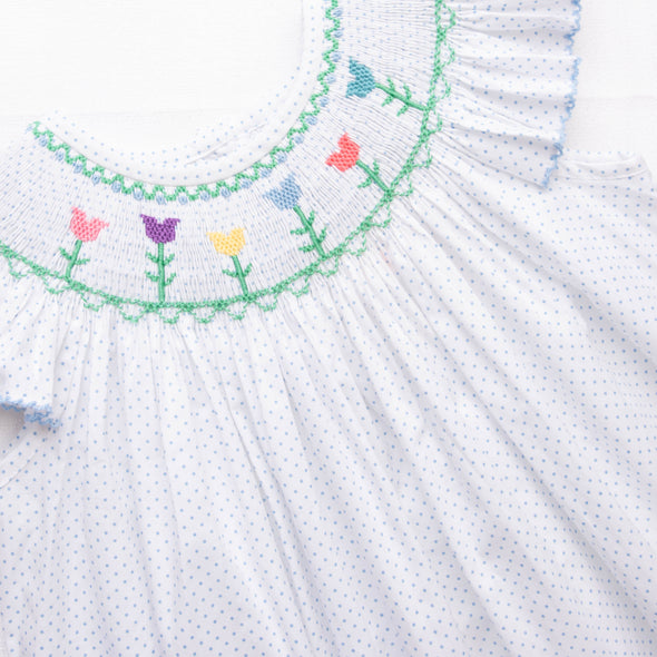 Tulip Time Smocked Dress, Blue Bitty Dot