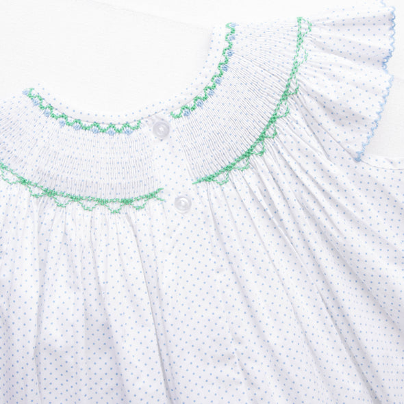 Tulip Time Smocked Bubble, Blue Bitty Dot