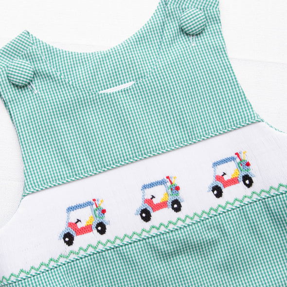 Gone Golfin' Smocked Bubble, Green Gingham