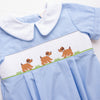Playdate Puppies Boy Smocked Bubble, Blue