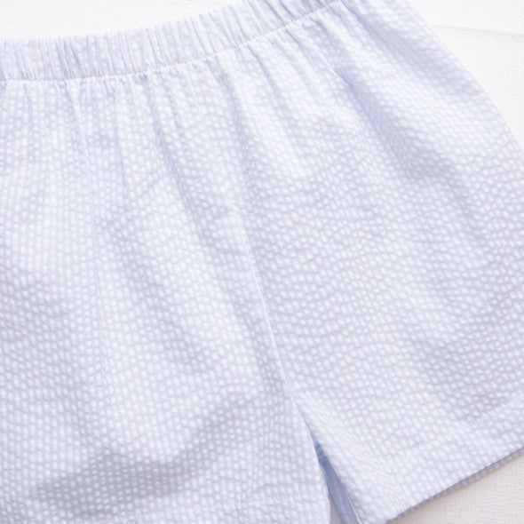 Pretty Fly Smocked Short Set, Blue Seersucker