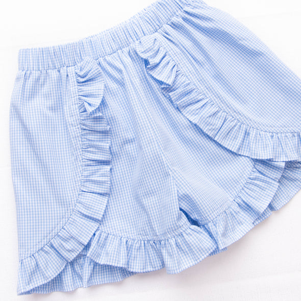 Little Red Wagon Smocked Ruffle Short Set, Blue