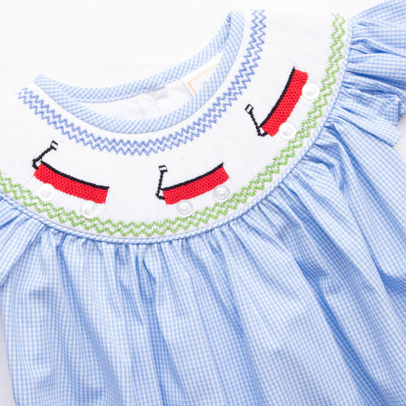 Little Red Wagon Smocked Bubble, Blue