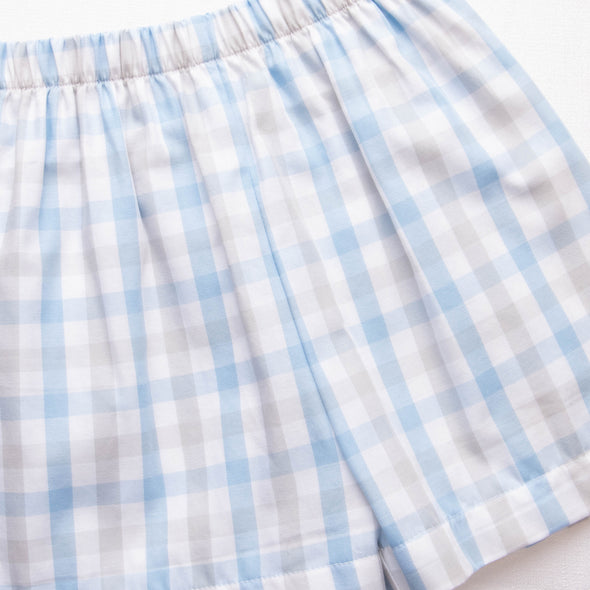 Get Mowin' Applique Short Set, Blue/Gray Plaid
