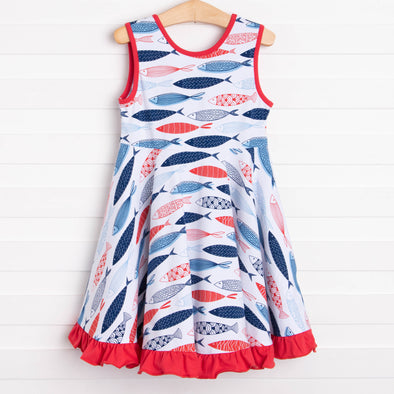 Swimming Along Dress, Red