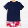 Bold Stripes Short Set, Navy