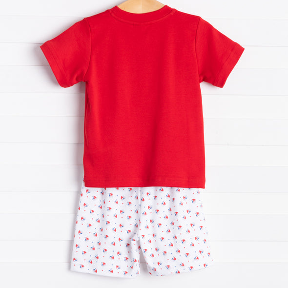 Squiggles Tiny Sailboats Boy Shorts Set