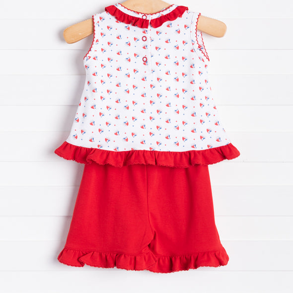 Squiggles Tiny Sailboats Ruffle Shorts Set