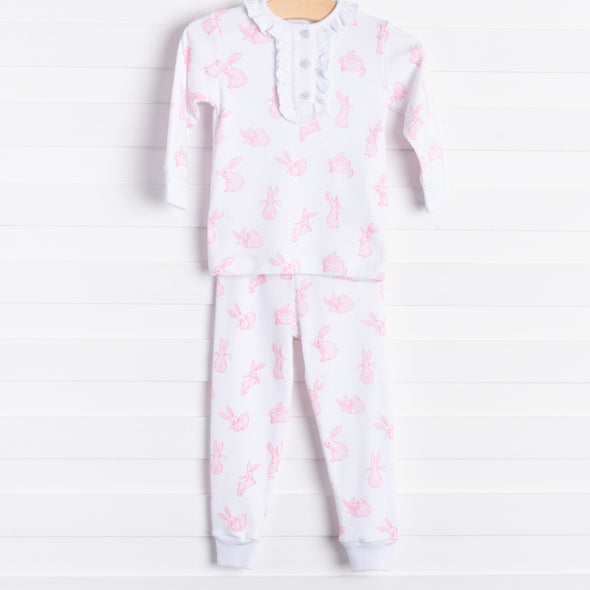 Little English Playful Bunny Pajamas, Pink