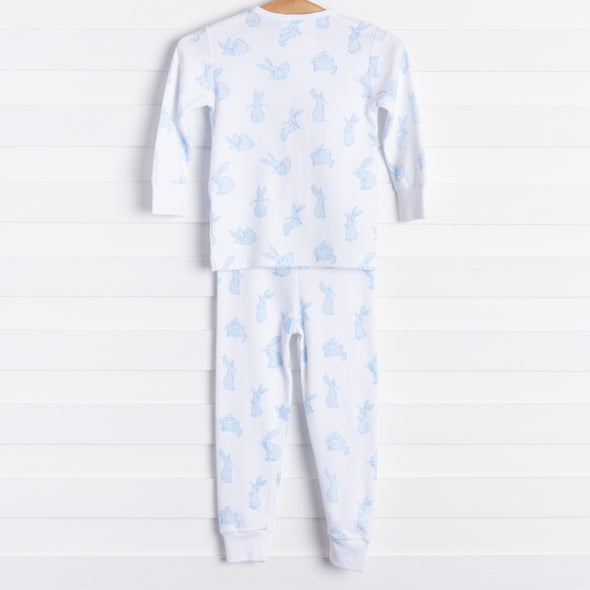 Little English Playful Bunny Pajamas, Blue