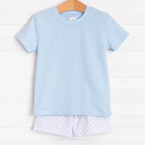Baby Blue Dot Short Set, Blue